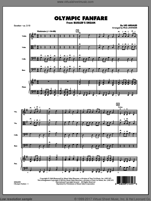 Olympic Fanfare (Bugler's Dream) (COMPLETE) sheet music for orchestra by Leo Arnaud