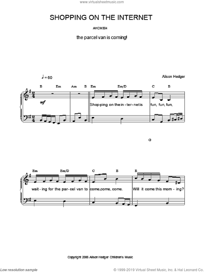 Shopping On The Internet sheet music for voice, piano or guitar by Alison Hedger, intermediate. Score Image Preview.