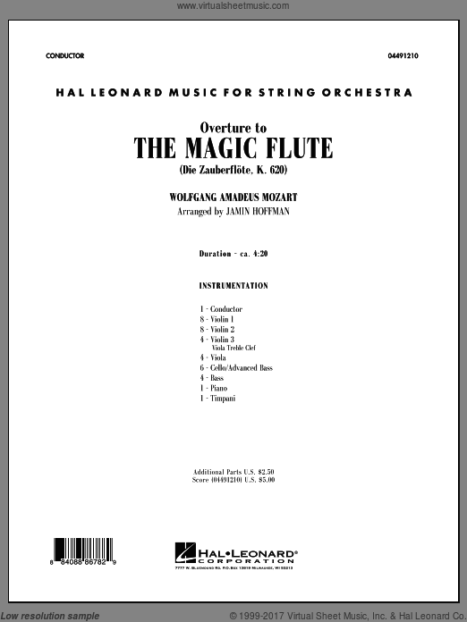 Overture to The Magic Flute (COMPLETE) sheet music for orchestra by Wolfgang Amadeus Mozart