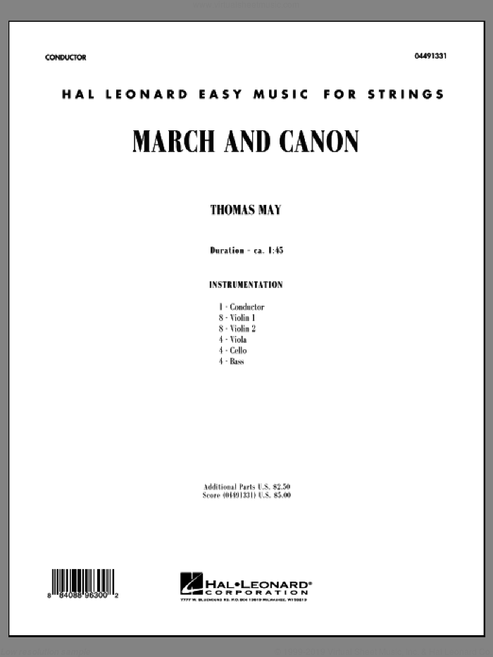 March and Canon (COMPLETE) sheet music for orchestra by Tom May, classical score, intermediate orchestra. Score Image Preview.