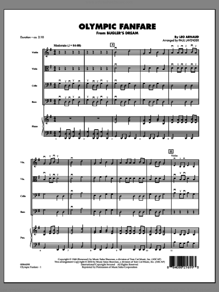 Olympic Fanfare (Bugler's Dream) (COMPLETE) sheet music for orchestra by Leo Arnaud and Paul Lavender, intermediate skill level