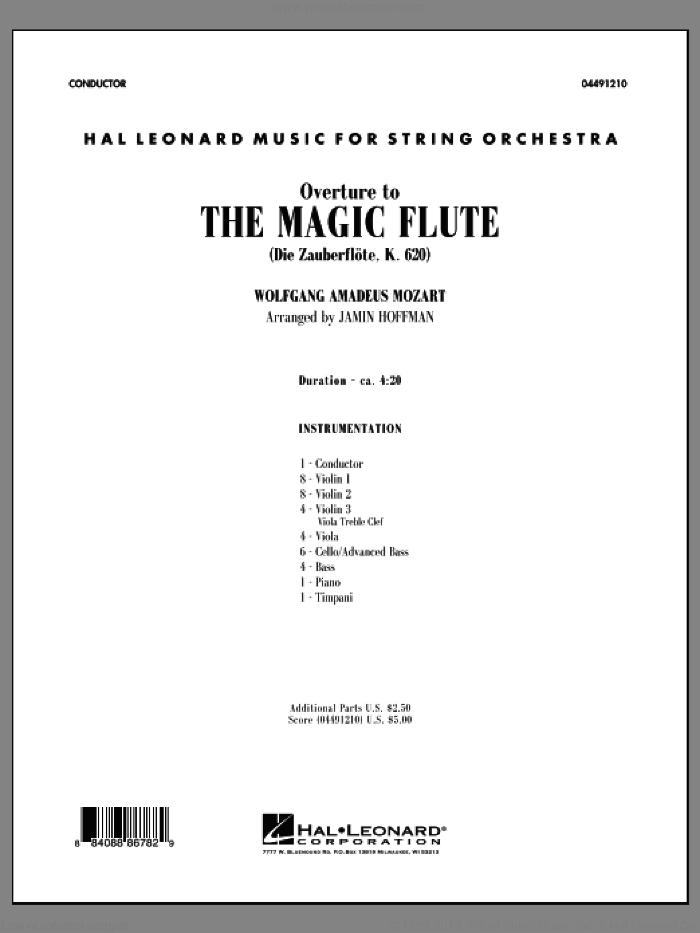 Overture to The Magic Flute (COMPLETE) sheet music for orchestra by Wolfgang Amadeus Mozart and Jamin Hoffman, classical score, intermediate skill level