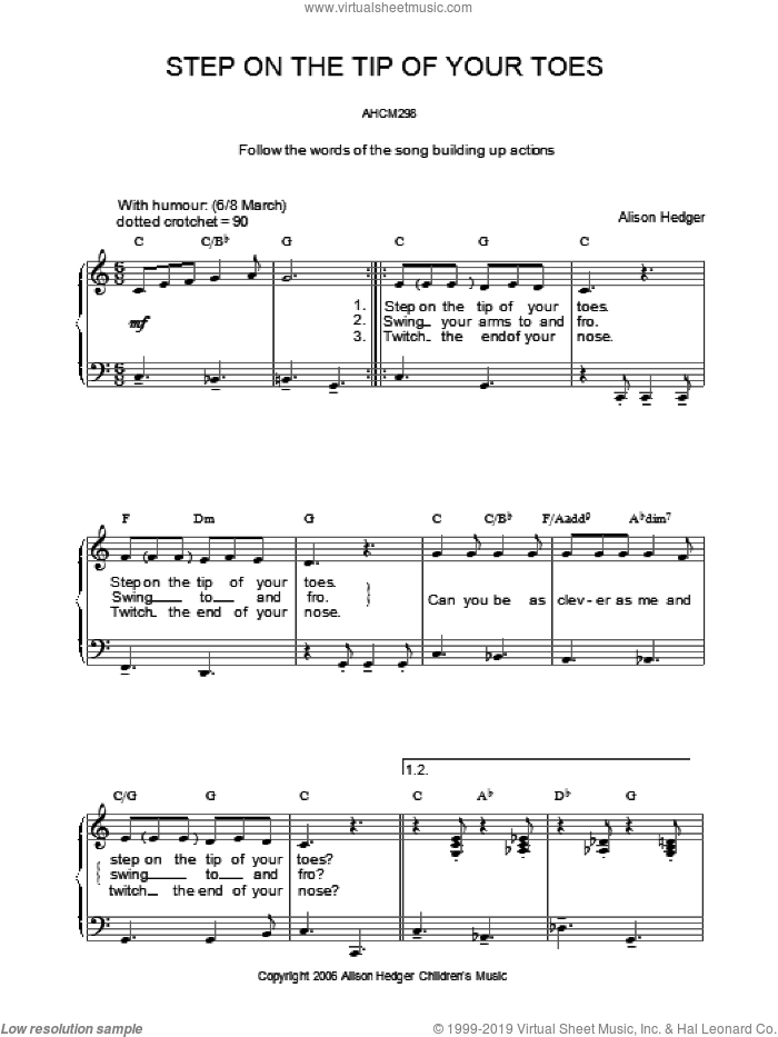 Step On The Tip Of Your Toes sheet music for voice, piano or guitar by Alison Hedger. Score Image Preview.