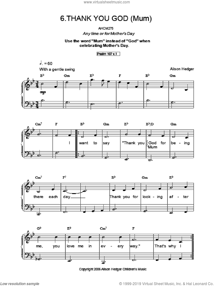 Thank You God sheet music for voice, piano or guitar by Alison Hedger. Score Image Preview.