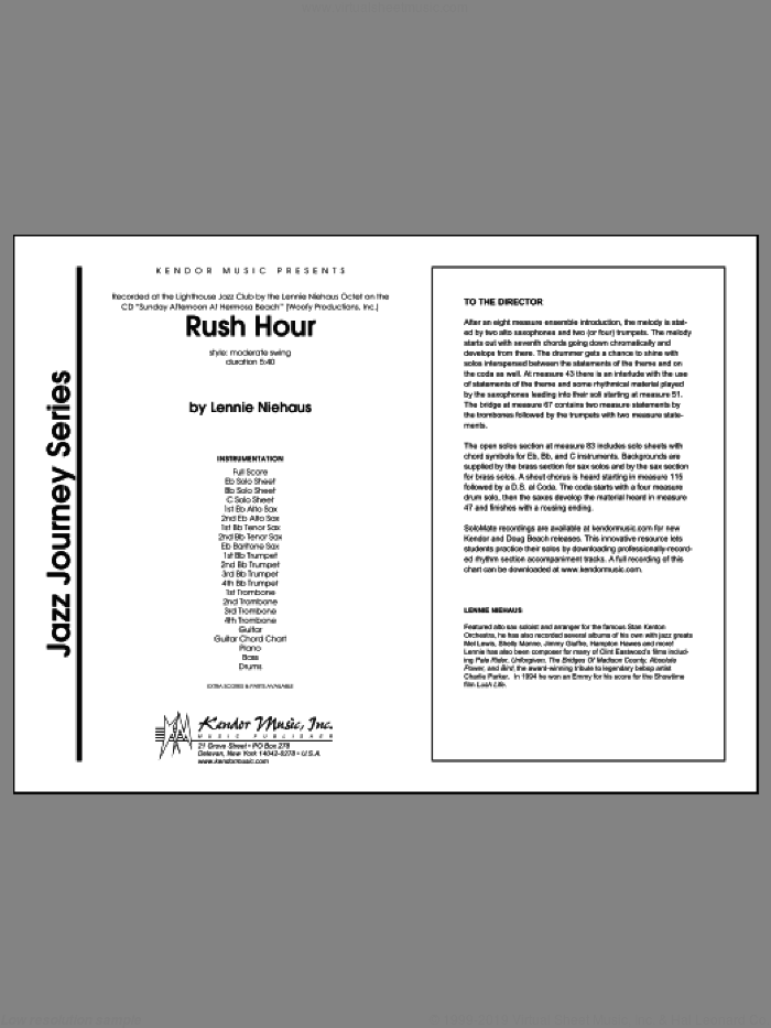 Rush Hour (COMPLETE) sheet music for jazz band by Lennie Niehaus, intermediate. Score Image Preview.