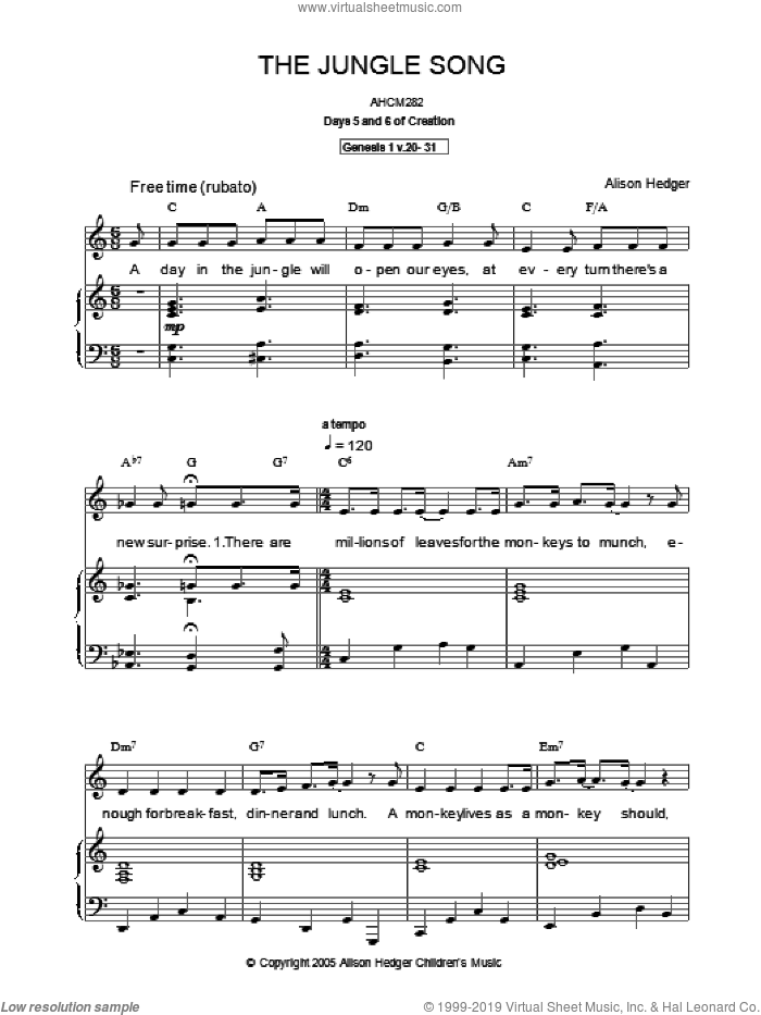 The Jungle Song sheet music for voice, piano or guitar by Alison Hedger. Score Image Preview.