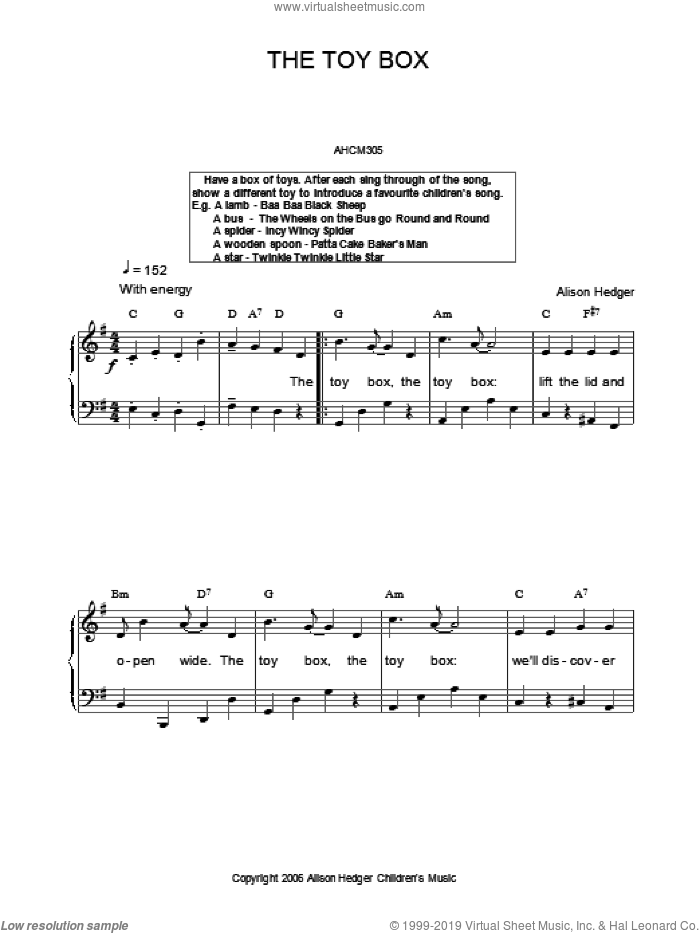 The Toy Box sheet music for voice, piano or guitar by Alison Hedger. Score Image Preview.