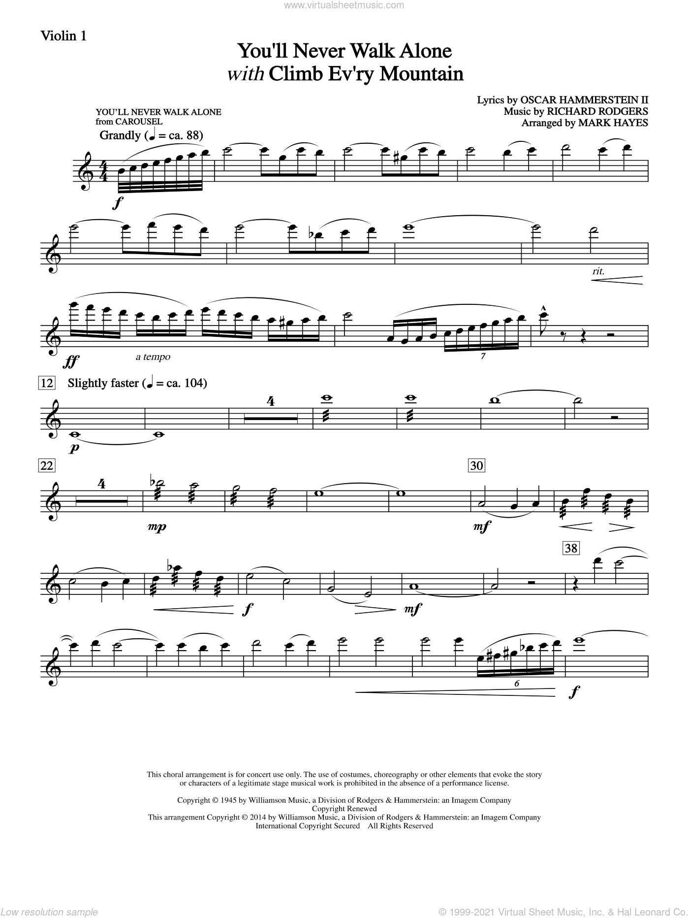 You'll Never Walk Alone (with Climb Every Mountain) sheet music for orchestra/band (violin 1) by Richard Rodgers, Margery McKay, Patricia Neway, Tony Bennett, Mark Hayes and Oscar II Hammerstein, intermediate skill level