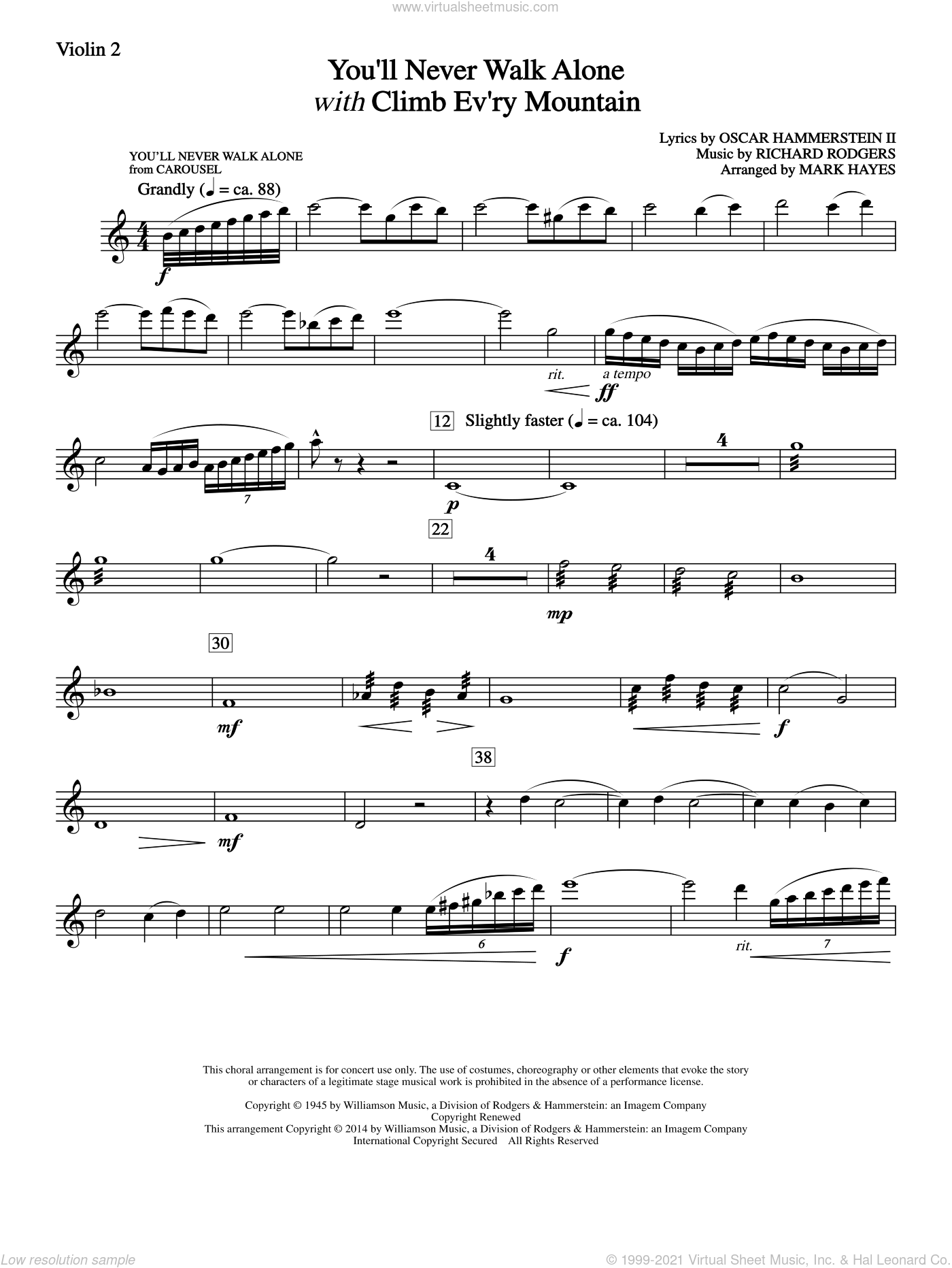You'll Never Walk Alone (with Climb Every Mountain) sheet music for orchestra/band (violin 2) by Richard Rodgers, Tony Bennett, Mark Hayes and Oscar II Hammerstein. Score Image Preview.