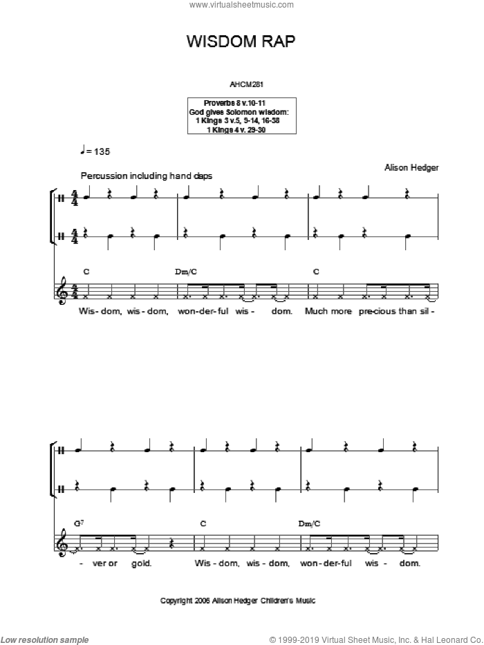 Wisdom Rap sheet music for voice and other instruments (fake book) by Alison Hedger. Score Image Preview.