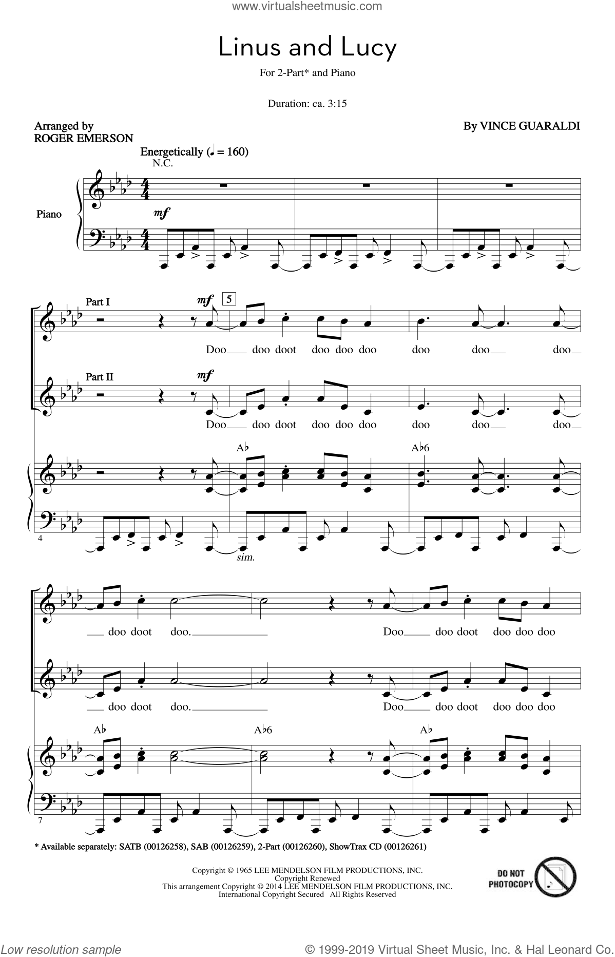 Emerson Linus And Lucy Sheet Music For Choir 2 Part Pdf
