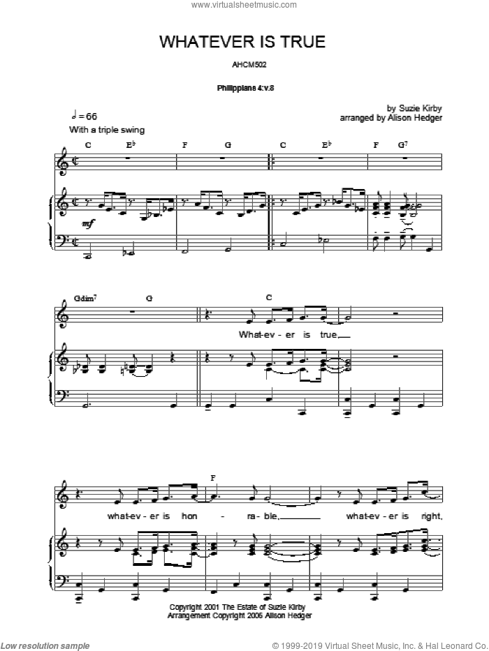 Whatever Is True sheet music for voice, piano or guitar by Alison Hedger. Score Image Preview.