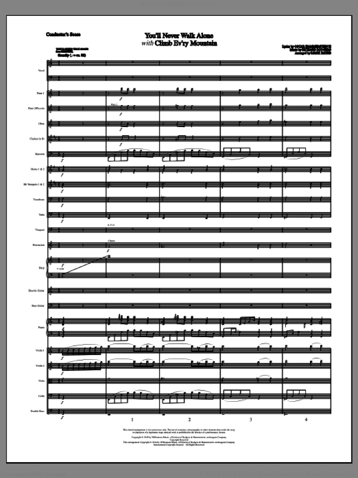 You'll Never Walk Alone (COMPLETE) sheet music for orchestra/band (Orchestra) by Richard Rodgers, Margery McKay, Mark Hayes, Oscar II Hammerstein, Patricia Neway and Tony Bennett, intermediate skill level