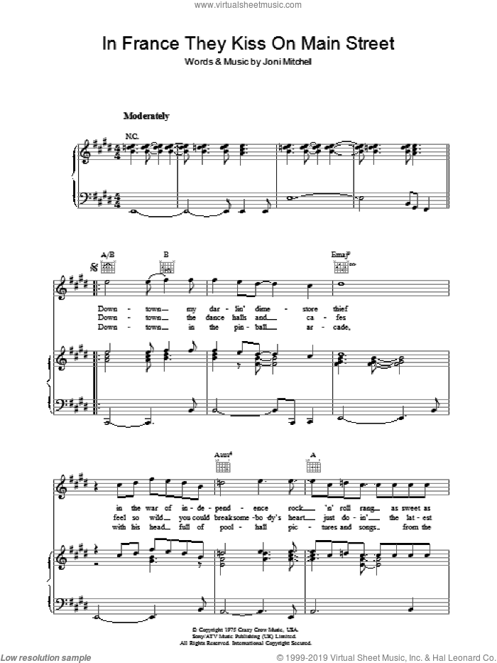 In France They Kiss On Main Street sheet music for voice, piano or guitar by Joni Mitchell. Score Image Preview.