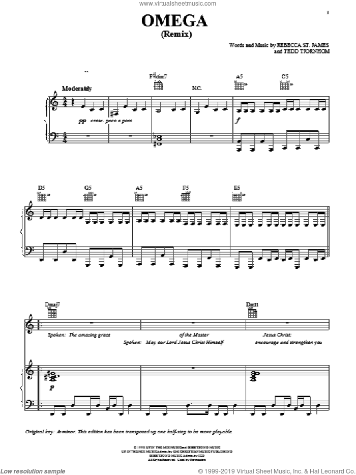 Omega (Remix) sheet music for voice, piano or guitar by Rebecca St. James and Tedd Tjornhom, intermediate skill level