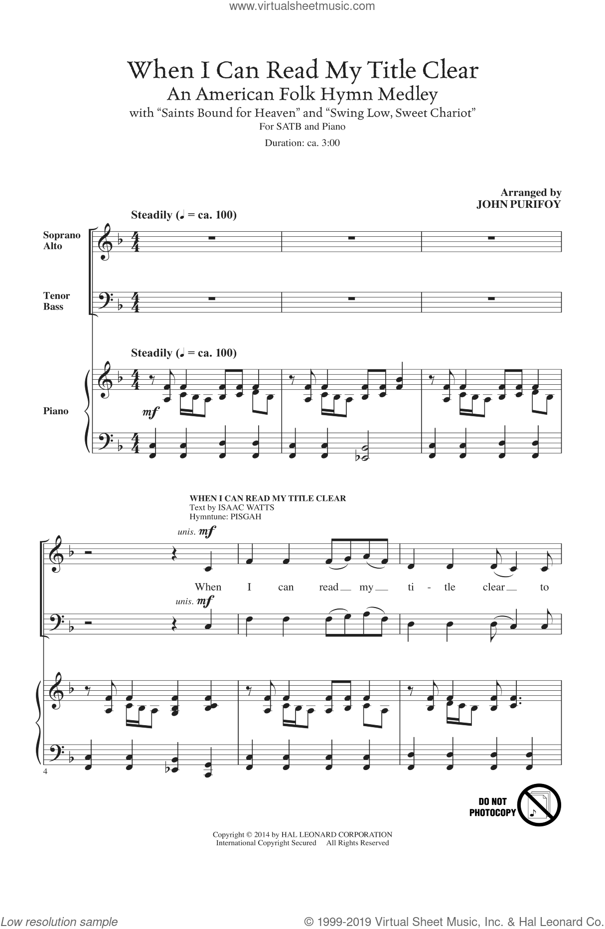 When I Can Read My Title Clear sheet music for choir (SATB) by John Purifoy, Isaac Watts, Kentucky Harmony and Miscellaneous, intermediate choir (SATB). Score Image Preview.