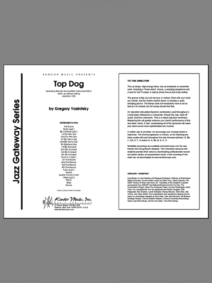 Top Dog (COMPLETE) sheet music for jazz band by Gregory Yasinitsky, intermediate jazz band. Score Image Preview.