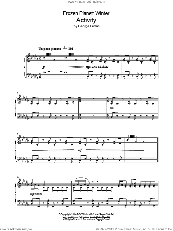 Frozen Planet, Activity sheet music for piano solo by George Fenton. Score Image Preview.