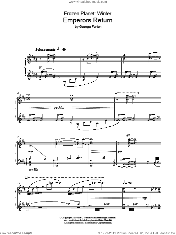 Frozen Planet, Emperors Return sheet music for piano solo by George Fenton, intermediate. Score Image Preview.