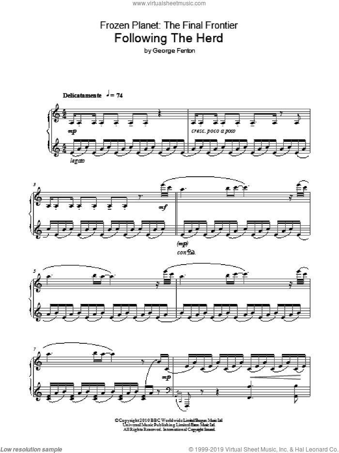 Frozen Planet, Following The Herd sheet music for piano solo by George Fenton. Score Image Preview.
