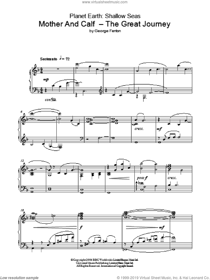 Planet Earth: Mother And Calf - The Great Journey sheet music for piano solo by George Fenton, intermediate piano. Score Image Preview.