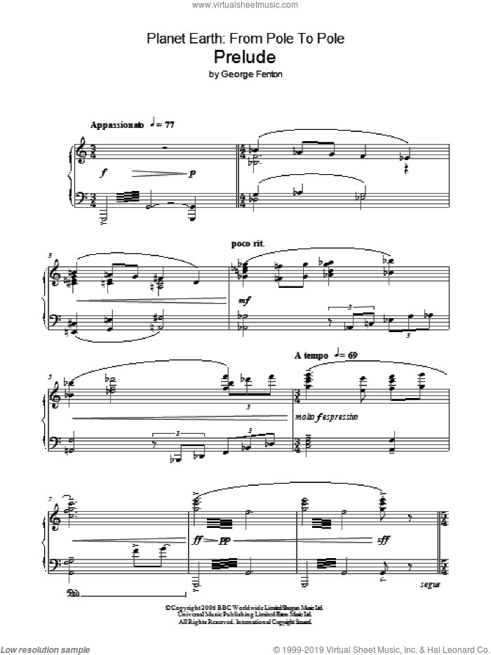Planet Earth: Prelude sheet music for piano solo by George Fenton. Score Image Preview.
