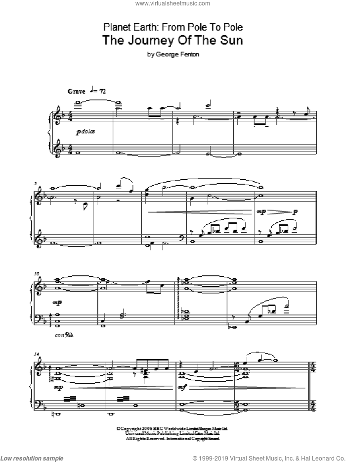 Planet Earth: The Journey Of The Sun sheet music for piano solo by George Fenton, intermediate. Score Image Preview.