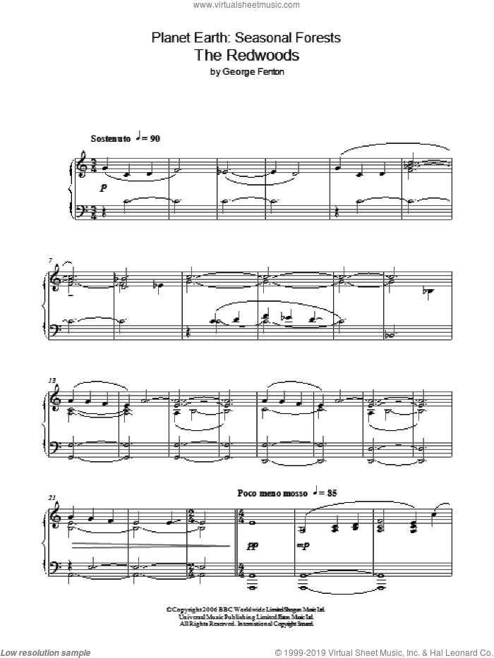 Planet Earth: The Redwoods sheet music for piano solo by George Fenton, intermediate skill level