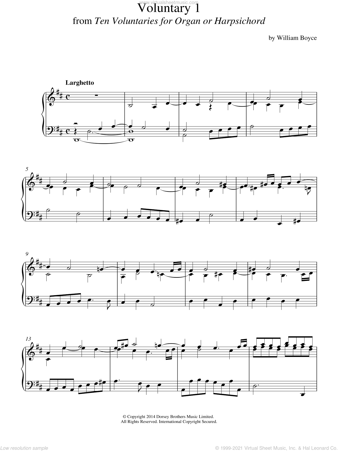 Voluntary 1 In D Major From 10 Voluntaries For Harpsichord sheet music for piano solo by William Boyce. Score Image Preview.