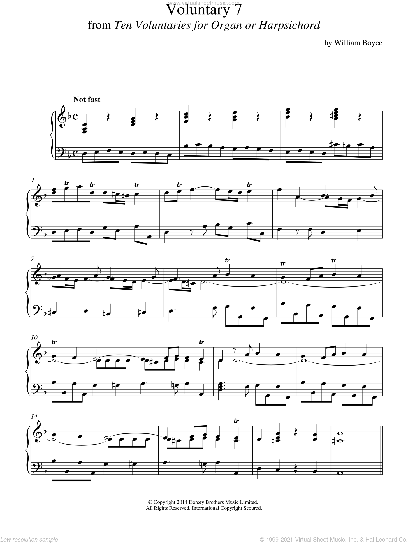 Voluntary 7 In D Minor From 10 Voluntaries For Harpsichord sheet music for piano solo by William Boyce, classical score, intermediate piano. Score Image Preview.