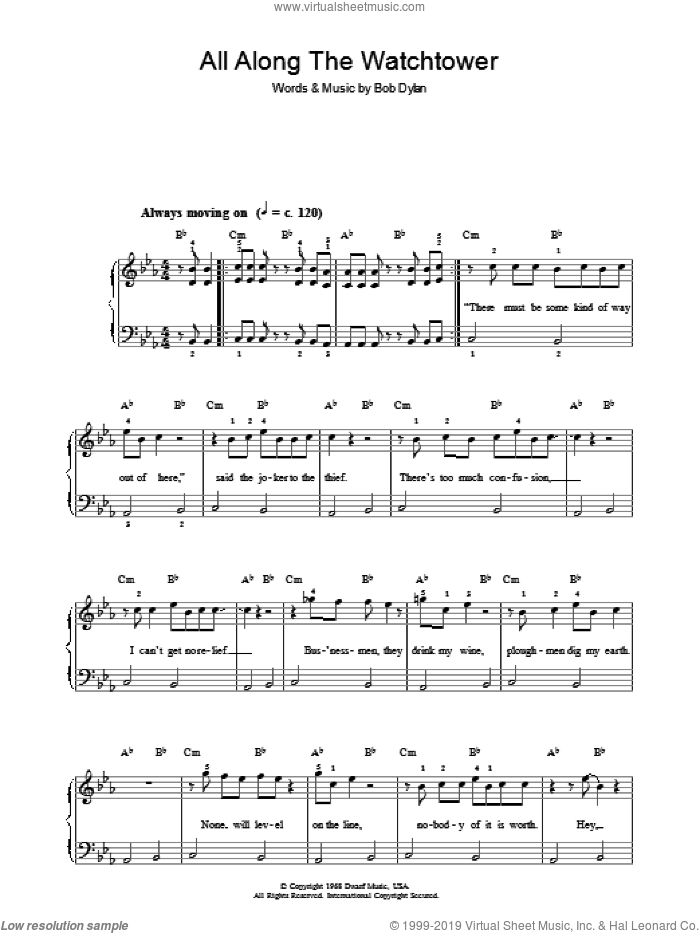 All Along The Watchtower sheet music for voice, piano or guitar by Bob Dylan. Score Image Preview.