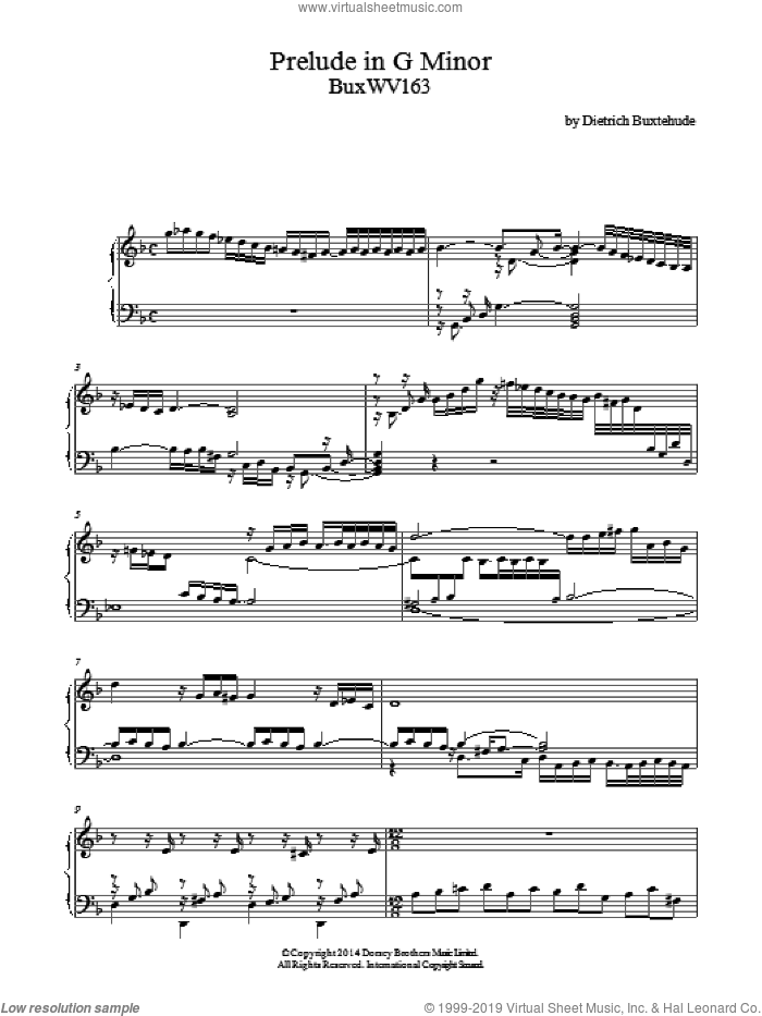 Prelude In G Minor Buxwv163 sheet music for piano solo by Dietrich Buxtehude, classical score, intermediate skill level