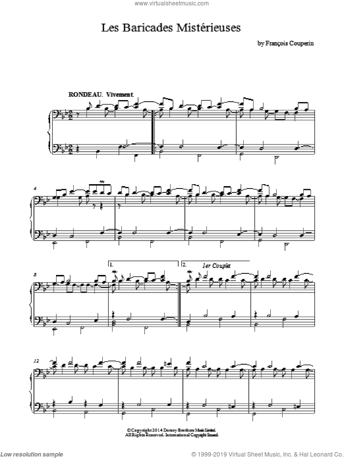 Les Baricades Misterieuses sheet music for piano solo by Francois Couperin, classical score, intermediate skill level