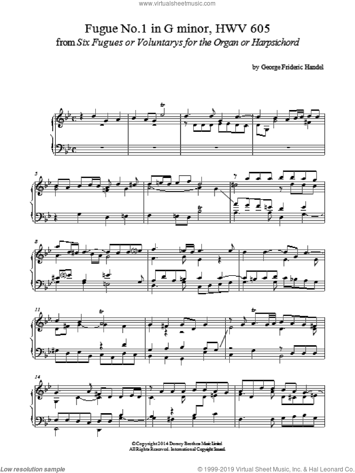 Fugue No.1 In G Minor (From 6 Fugues) HWV 605 sheet music for piano solo by George Frideric Handel, classical score, intermediate skill level