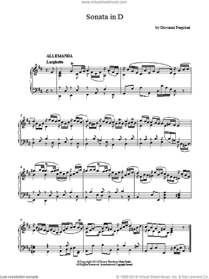 Harpsichord Sonata In D Major sheet music for piano solo by Giovanni Battista Pergolesi. Score Image Preview.