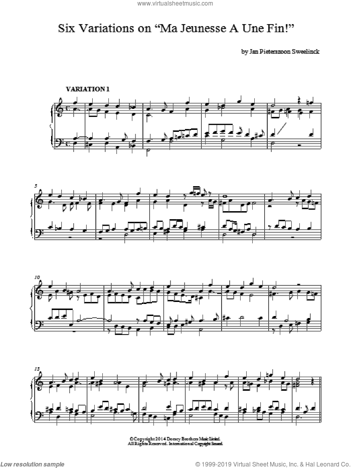 6 Variations On Ma Jeunesse A Une Fin! sheet music for piano solo by Jan Pieterszoon Sweelinck. Score Image Preview.