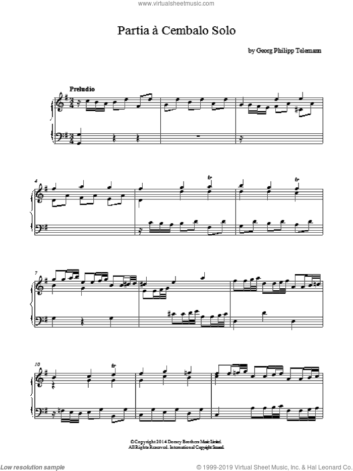 Partia A Cembalo Solo sheet music for piano solo by Georg Philipp Telemann. Score Image Preview.