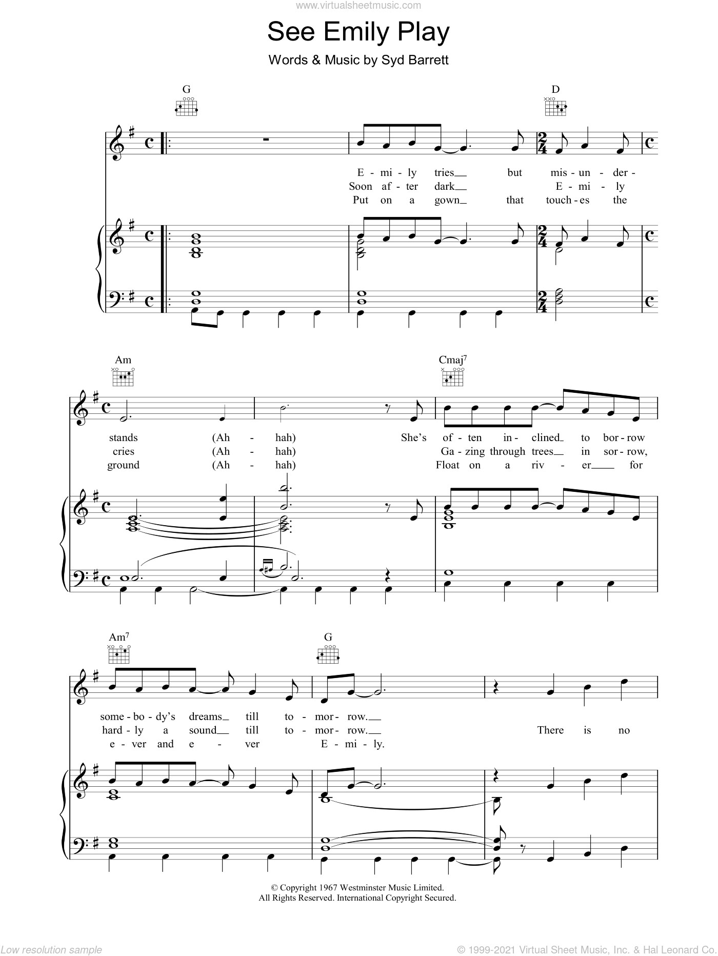 See Emily Play sheet music for voice, piano or guitar by Pink Floyd and Syd Barrett, intermediate. Score Image Preview.