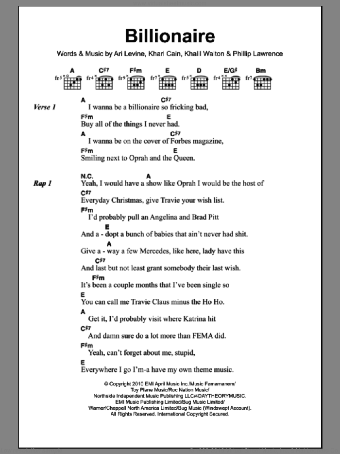 Billionaire sheet music for guitar (chords) by Philip Lawrence, Bruno Mars, Travis McCoy, Ari Levine, Khalil Walton and Khari Cain. Score Image Preview.