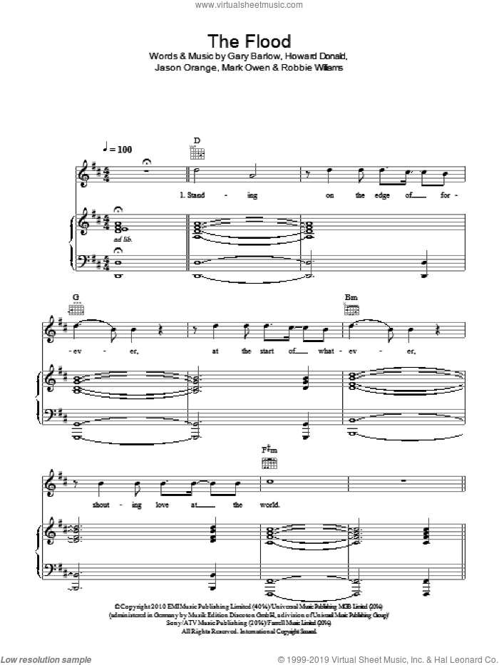 The Flood sheet music for voice, piano or guitar by Take That, Gary Barlow, Howard Donald, Jason Orange, Mark Owen and Robbie Williams, intermediate skill level