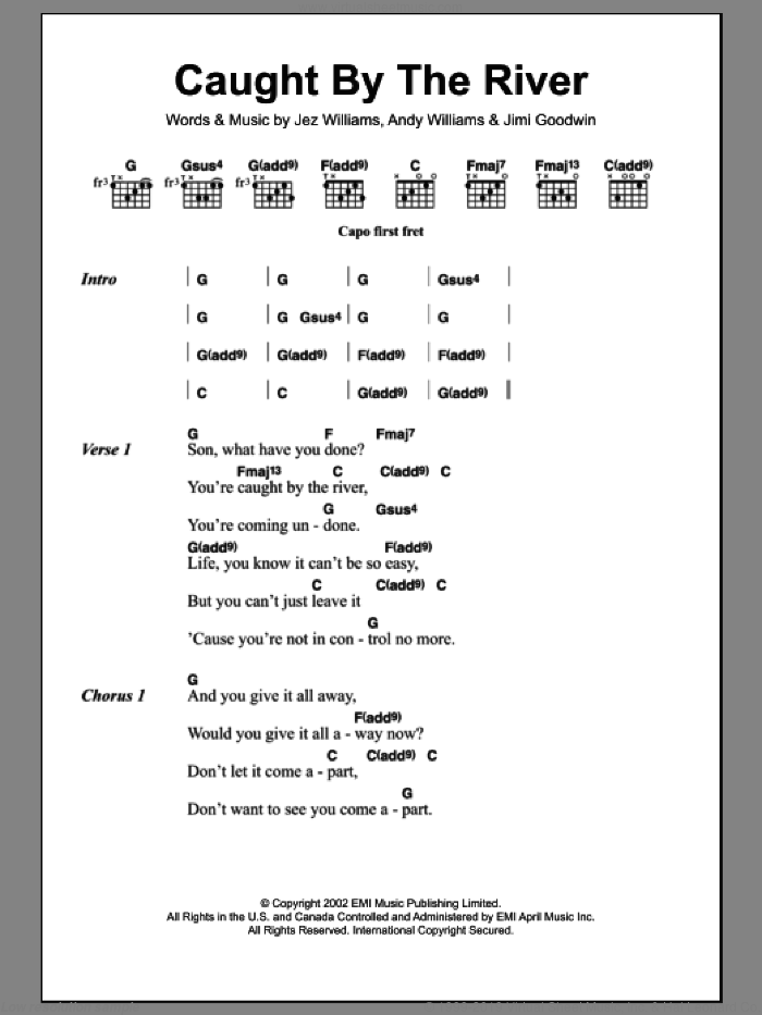 Caught By The River sheet music for guitar (chords) by Doves. Score Image Preview.