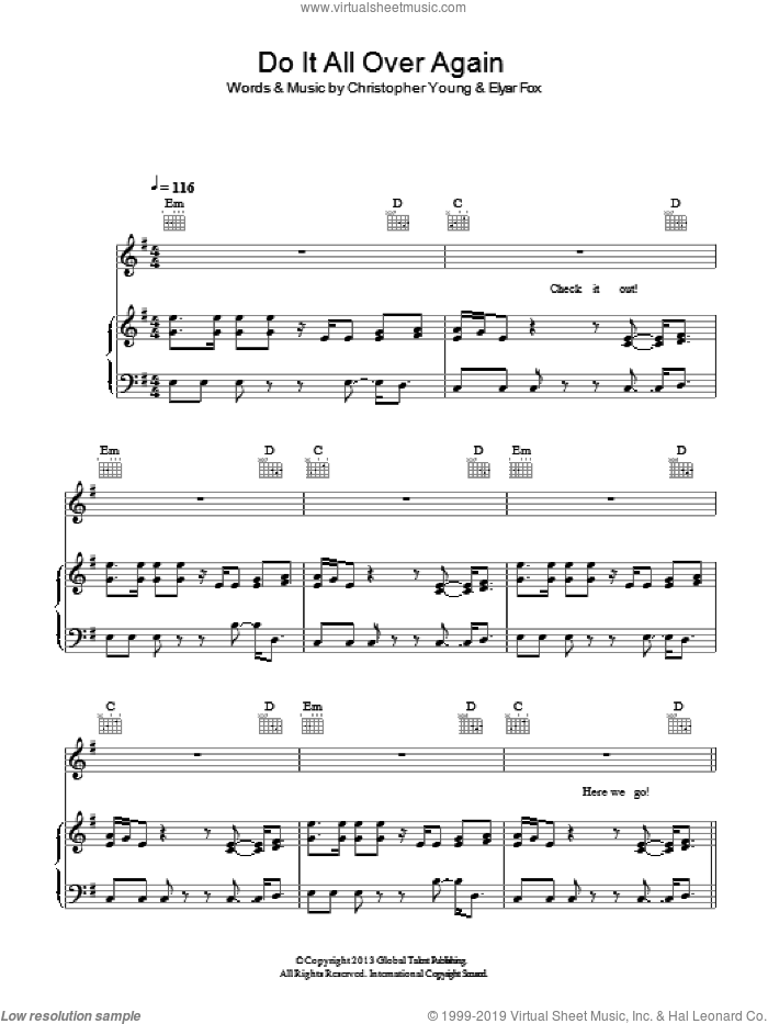 Do It All Over Again sheet music for voice, piano or guitar by Christopher Young. Score Image Preview.