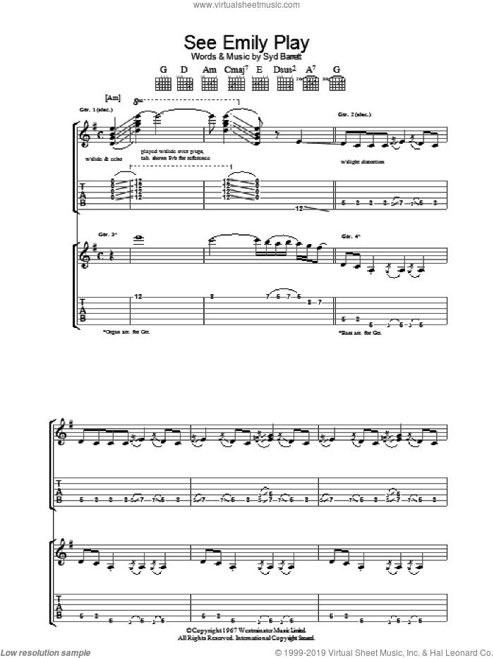 See Emily Play sheet music for guitar (tablature) by Pink Floyd and Syd Barrett, intermediate skill level