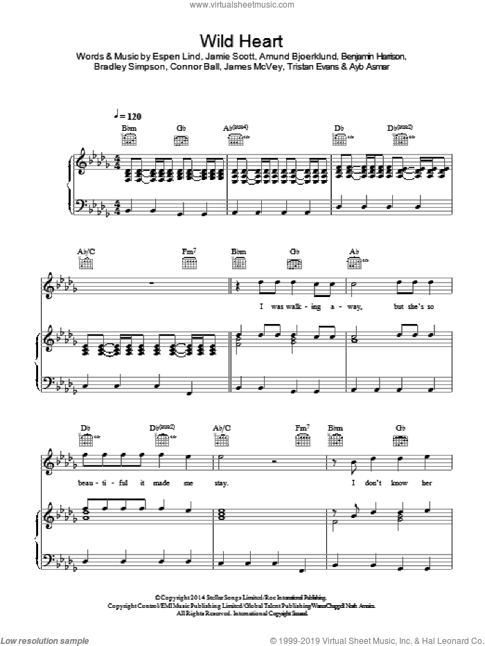 Wild Heart sheet music for voice, piano or guitar by The Vamps, Amund Bjoerklund, Ayb Asmar, Benjamin Harrison, Bradley Simpson, Connor Ball, Espen Lind, James McVey, Jamie Scott and Tristan Evans, intermediate