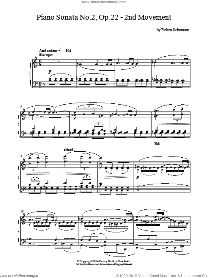 Piano Sonata No. 2, Op. 22 - 2nd Movement sheet music for piano solo by Robert Schumann, classical score, intermediate skill level