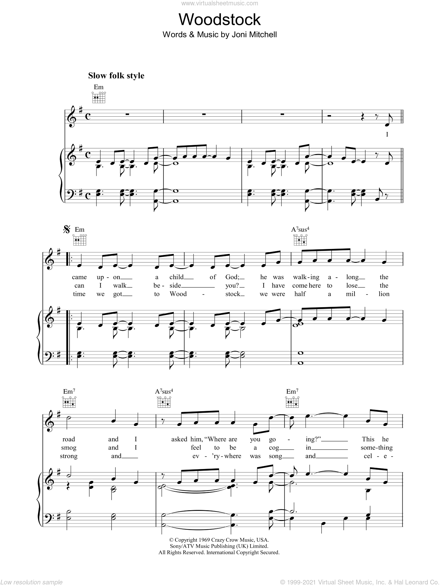 Woodstock sheet music for voice, piano or guitar by Joni Mitchell, intermediate skill level
