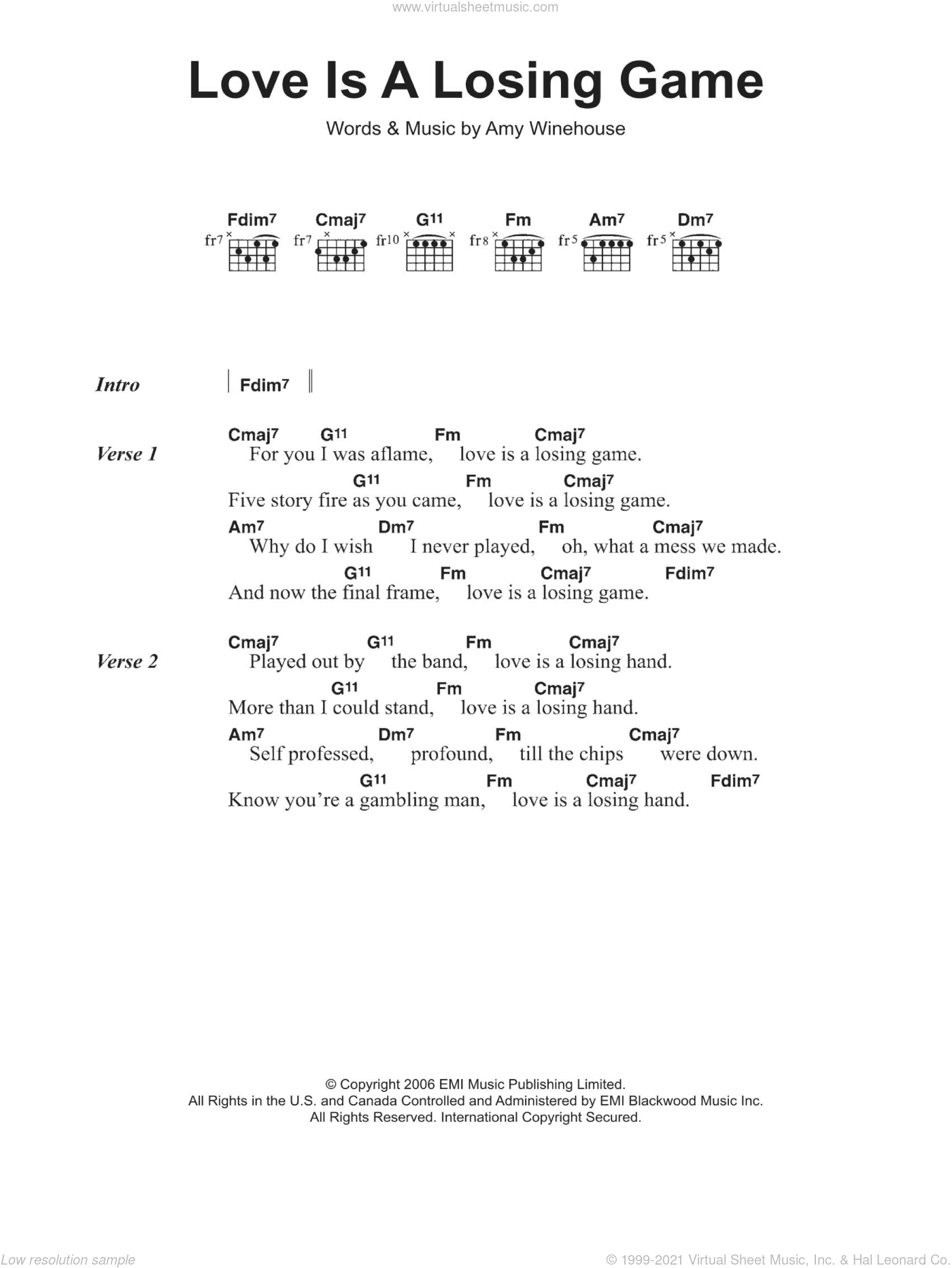 Love Is A Losing Game sheet music for guitar (chords) by Amy Winehouse, intermediate skill level