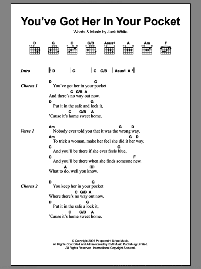 You've Got Her In Your Pocket sheet music for guitar (chords) by The White Stripes and Jack White, intermediate