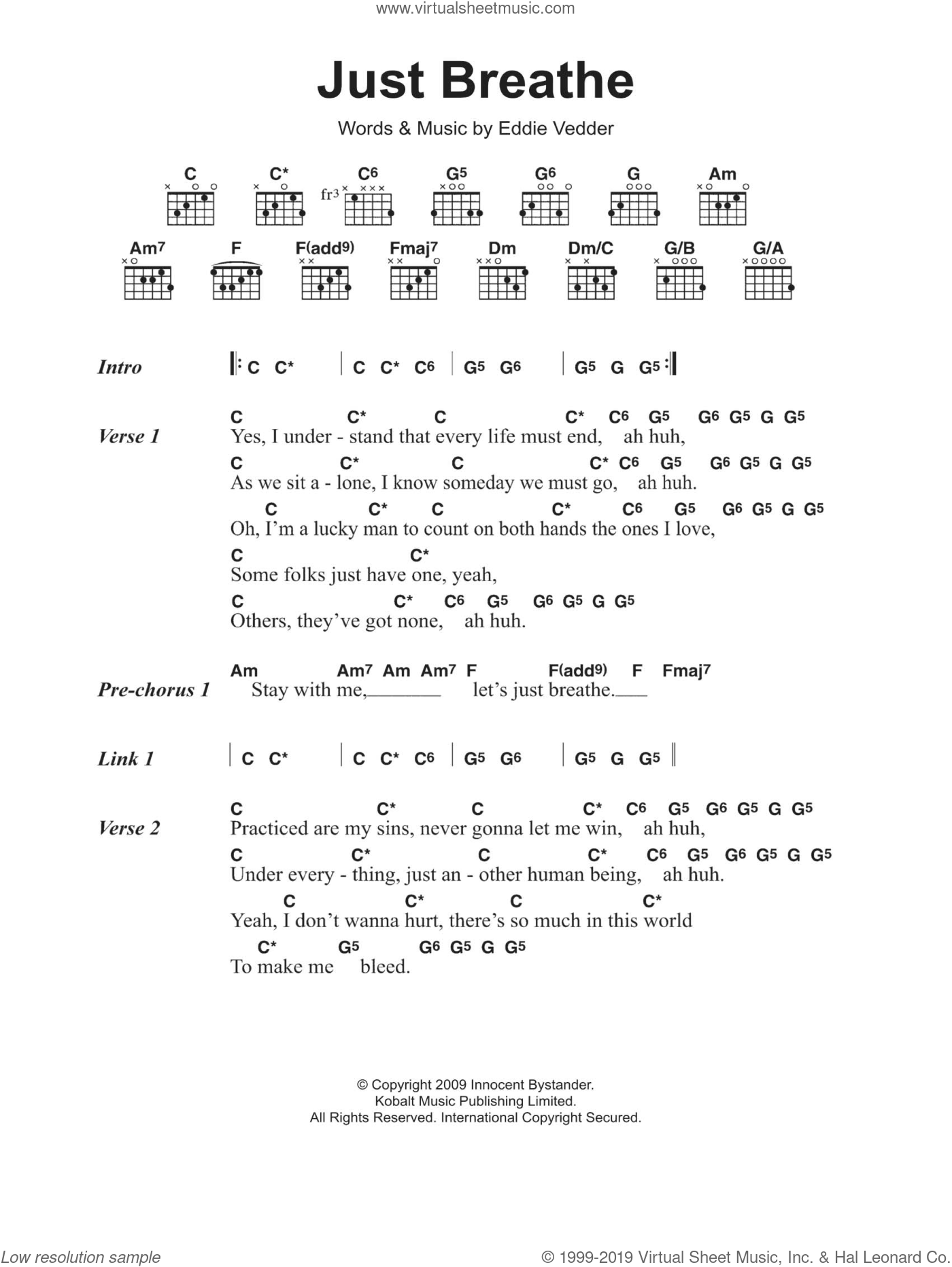 Jam - Just Breathe sheet music for guitar (chords) [PDF]