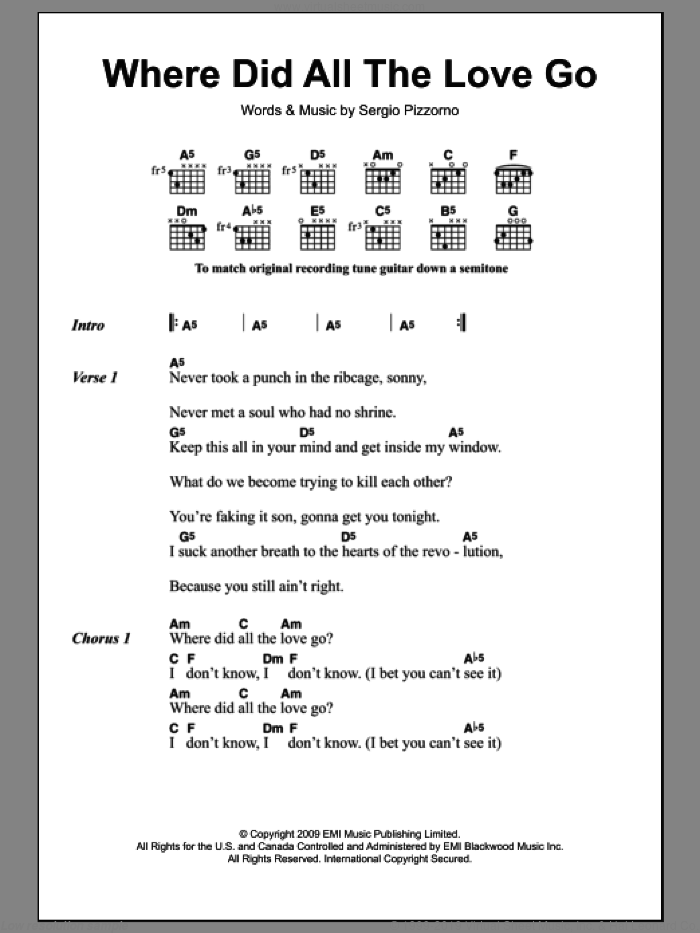 Where Did All The Love Go sheet music for guitar (chords) by Kasabian. Score Image Preview.